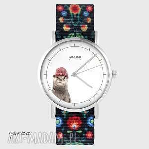 hand-made zegarki zegarek - wydra folk czarny, nato