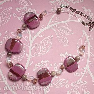 róże i fiolety - naszyjnik, ceramika, szkło, fiolet