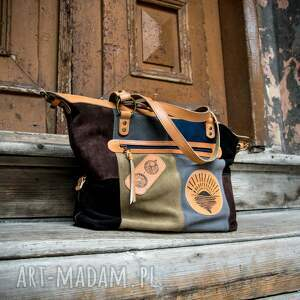 oryginalna skórzana torebka z naturalnego weluru, ręcznie wykonana torba