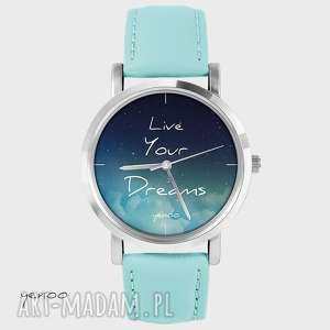 Prezent Zegarek, bransoletka - Live Your Dreams turkusowy, skórzany, zegarek