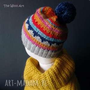 the wool art czapka boho, czapka, kolorowa, na głowę, ciepła