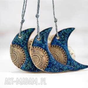 3 ceramiczne księżyce - niebieskie dekoracje fingersart