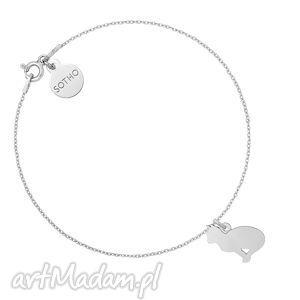 srebrna bransoletka z kotem sotho - łańcuszkowa, łańcuszek