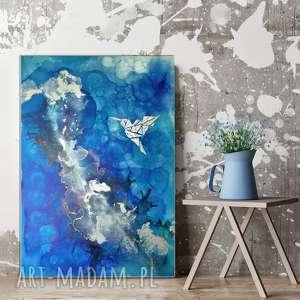 srebrny koliber -obraz do salonu i na prezent ręcznie malowany