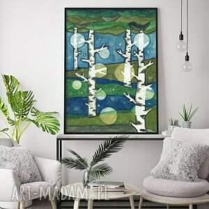 drzewa 50x70cm, obraz, drzewa, natura, plakat, sztuka, ilustracja
