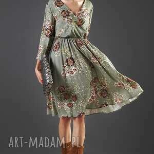 sukienki popielata sukienka w kwiaty paloma, sukienka, midi, wiskoza