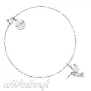 ręczne wykonanie srebrna bransoletka z kolibrem