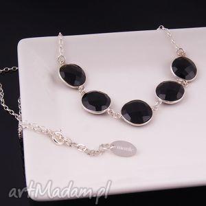 Czarny naszyjnik z onyksu - ,czarny,srebrny,naszyjnik,srebro,