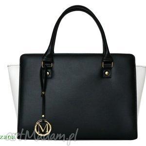 handmade torebki sztywna torebka kuferek trapez czarno - biała