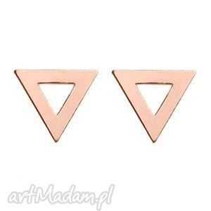 kolczyki trójkąty z różowego złota - trójkąciki