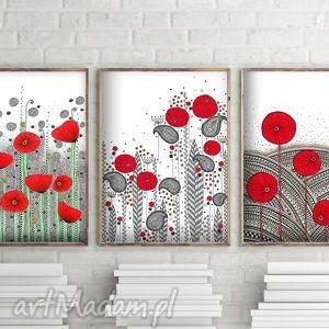 Zestaw 3 prac A3, maki, kwiaty, plakat