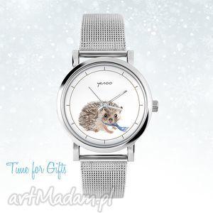 zegarek, bransoletka - jeżyk mały, bransoletka, metalowa, jeż, świąteczny