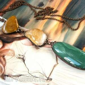 secesyjny wisiorek z łańcuszkiem awenturyn jaspis, kamieni, cytryn