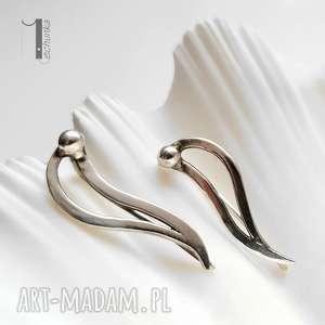 Prezent Wave srebrne kolczyki nausznice , sztyfty, fale, modern,