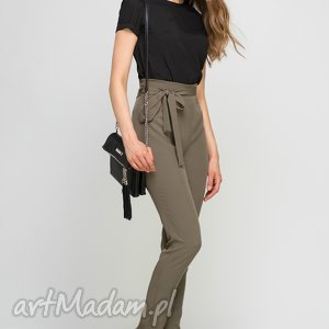 spodnie z szarfą, sd113 khaki, wstążka, szarfa, wysokie, pasek, praca