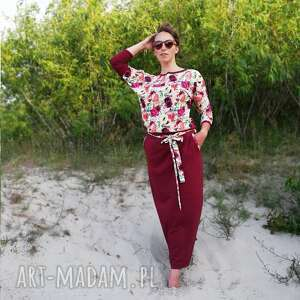 komplet bluza i spódnica - rajski ogród, bluzka, maxi