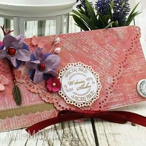 kopertówka ślubna- malinowe lato - kartka, kopertówka, ślub, wesele