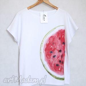 bluzki arbuz koszulka bawełniana s m biała, koszulka, bluzka, arbuz, nadruk, bawełna