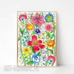 oryginalny prezent, kwiaty 60x90cm, kwiaty, łąka, plakat, obraz, grafika