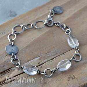 handmade bransoletka srebrna z kryształem górskim