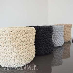 kosz ze sznurka bawełnianego - beż 20x16 cm, koszzesznurka, ręcznierobiony