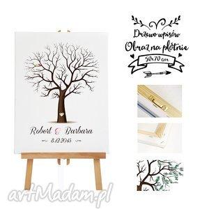 Obraz na płotnie - Drzewo wpisów 50x70, drzewoq, księga, gości, ślub, wesele
