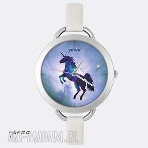 zegarki zegarek, bransoletka - jednorożec, unicorn jasno szary, skórzany, zegarek