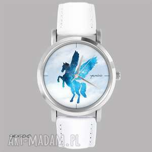 zegarek, bransoletka - pegaz biały, skórzany, bransoletka