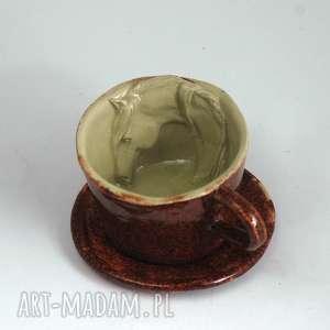 ceramiczna filiżanka kubek z koniem - czerwień granatu, zkoniem, kubek