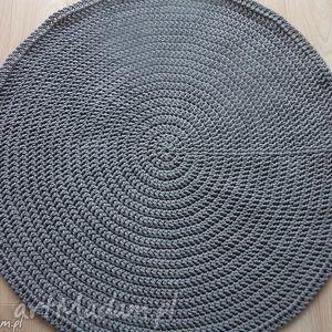 okrągły dywan ze sznurka 100 cm w kolorze szarym, dywan, chodnik, szary, szydełko