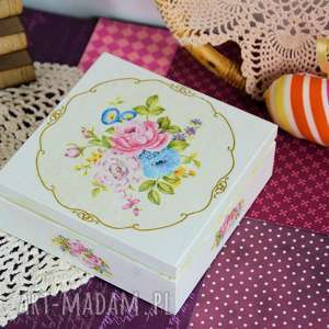pudełka pudełko drewniane - romantyczny bukiet, pudełko, drewno, malowane
