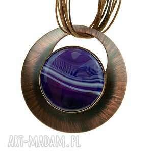 naszyjnik z miedzi agatem c833, miedziany naszyjnik, biżuteria