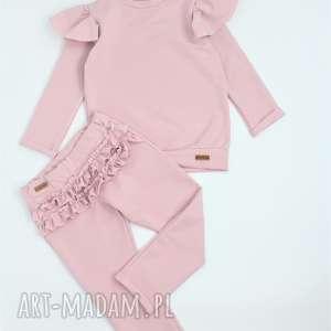 handmade ubranka zestaw spodnie i bluza z falbankami