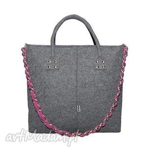 handmade do ręki glamfelt - torba do ręki 2w1 szaro różowa