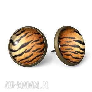 Tygrys - Kolczyki sztyfty - ,kolczyki,wkręty,wkrętki,tygrys,paski,zwierzęce,