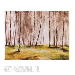 Las we mgle, obraz ręcznie malowany, las, pejzaż, obraz, ręcznie,