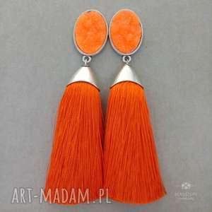 Pędzelki pomarañczowe w srebrnej oprawie z kaboszonem druzzy, klipsy, sztyfty, metal