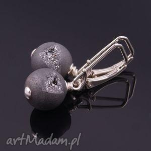 szare druzy kolczyki - biżuteria, srebro, agat
