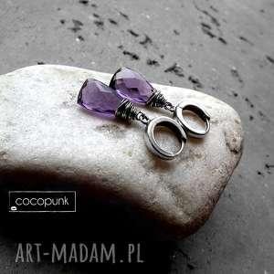 kolczyki krople- srebro i kwarc fioletowy, delikatne, codzienne