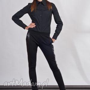 spodnie spodnie, sd102 czarny, legginsy, lampasy, skóra, rurki, kieszenie, czarne