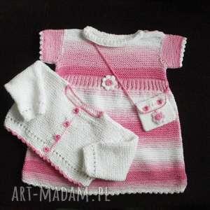 Komplet Różowa fantazja , komplet, sukienka, rękodzieło, bawełna, sweterek