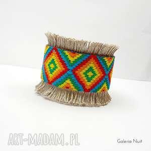 Léonie - bransoletka we wzory, aztekie, indiańskie, geometryczne, szeroka