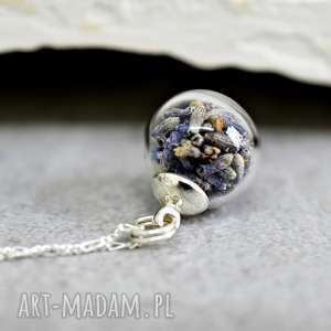 925 Sterling ♥ Lawenda ♥ Naszyjnik - ,lawenda,kwiaty,susz,kulka,natura,srebro,