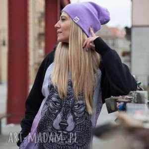 czapki wstydliwy fiolet long, jesień, zima, czapka, beanie