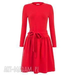 handmade sukienki bien fashion czerwona sukienka z kokardą w pasie xs, m, xl