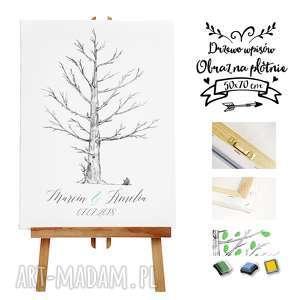 Obraz a la księga gości - artystyczne drzewo wpisów 50x70 cm, księga-gości, ślub