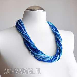 ręcznie robione naszyjniki naszyjnik z jedwabiu - turkusy i niebieskości