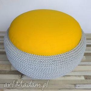 dom siedzisko fjerne tire szary bawełniany sznurek, żółty, siedzisko, puf