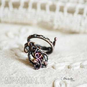 pierścionki arabella - pierścionek z kryształkiem, pierścionek, miedź, retro