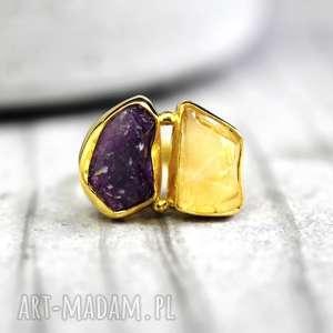 925 18k pozłacany pierścionek ametyst & cytryn - minerały